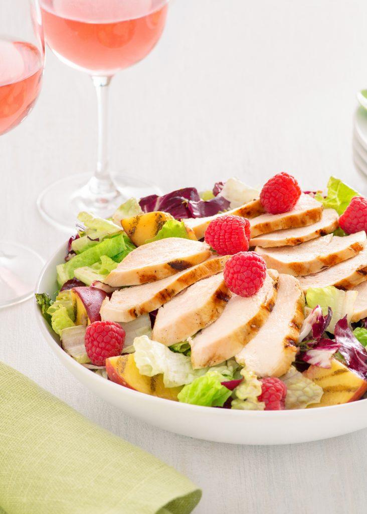 Grilled Chicken Salad with Peach Raspberry